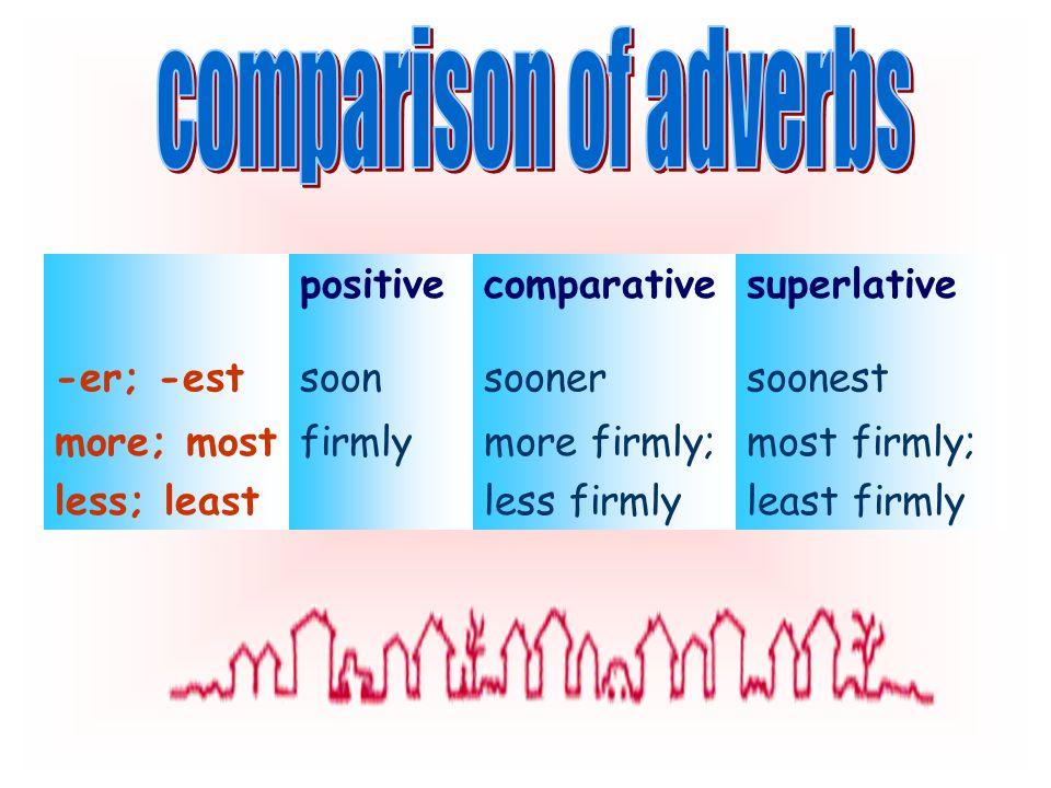 positivecomparativesuperlative -er; -estsoonsoonersoonest more; most less; least firmlymore firmly; less firmly most firmly; least firmly