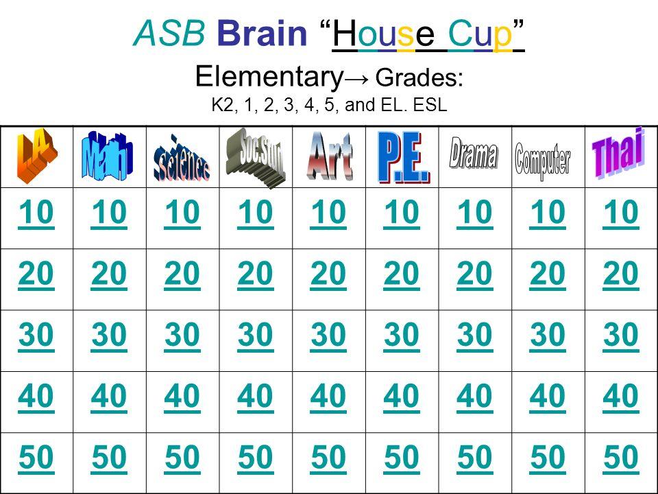 ASB Brain House Cup Elementary Grades: K2, 1, 2, 3, 4, 5, and EL. ESL 10 20 30 40 50