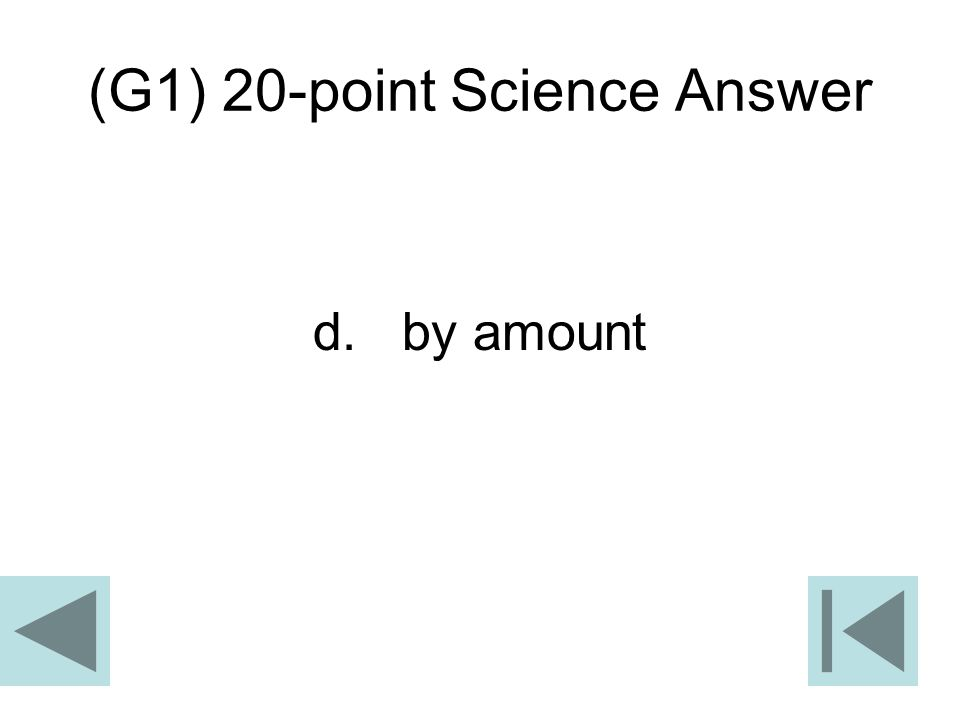 (G1) 20-point Science Answer d. by amount