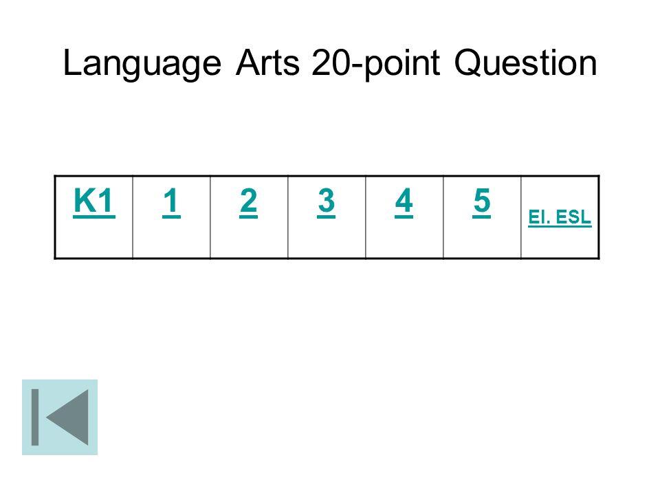 Language Arts 20-point Question K112345 El. ESL