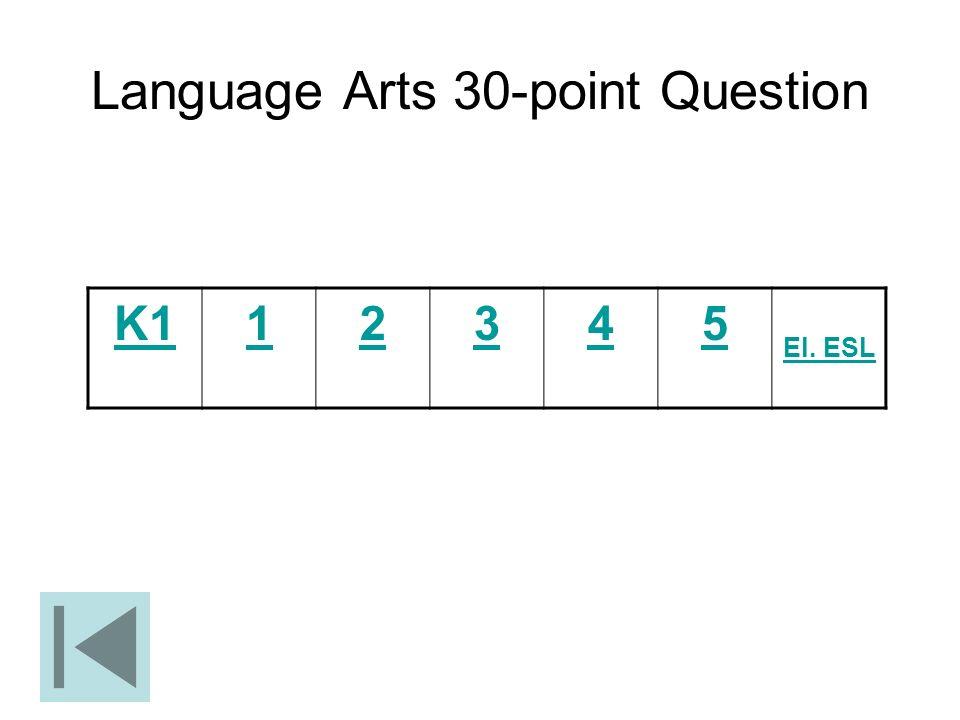 Language Arts 30-point Question K112345 El. ESL