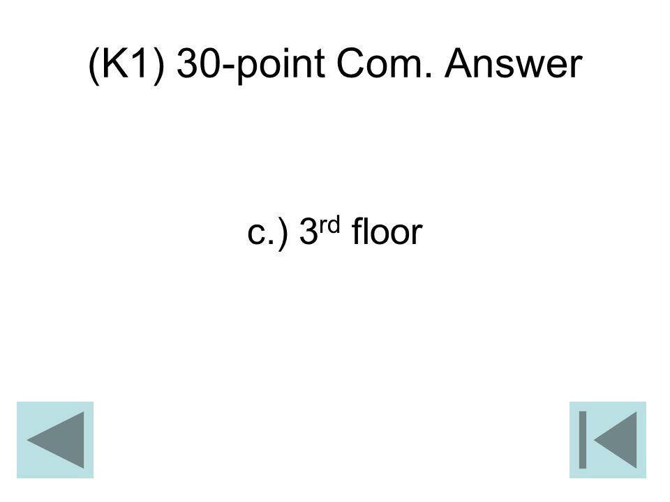 (K1) 30-point Com. Answer c.) 3 rd floor
