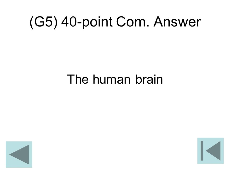 (G5) 40-point Com. Answer The human brain