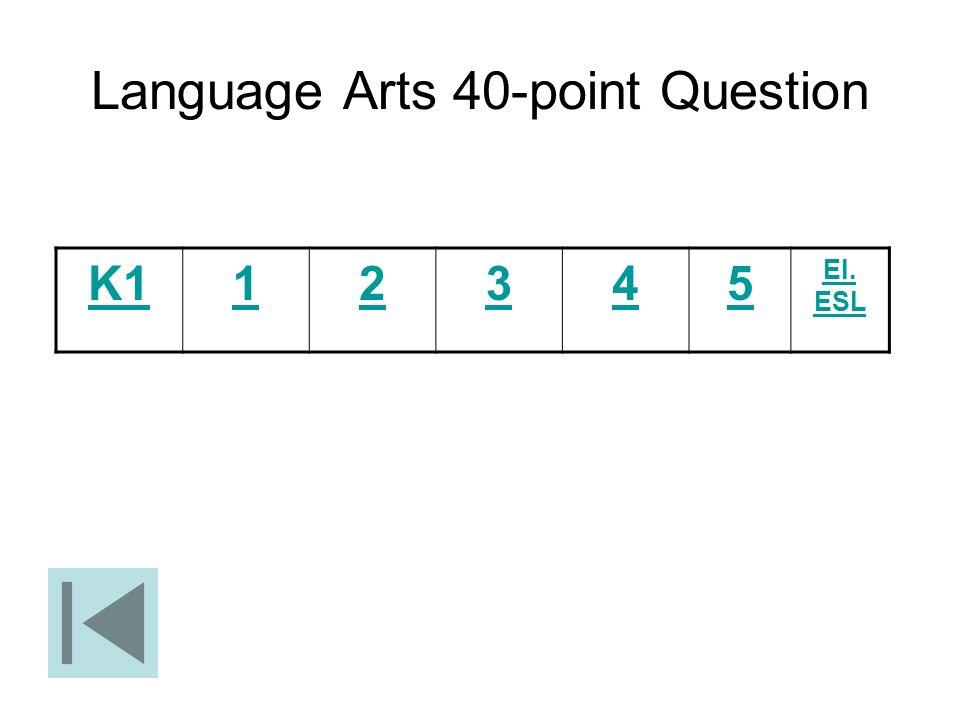 Language Arts 40-point Question K112345 El. ESL