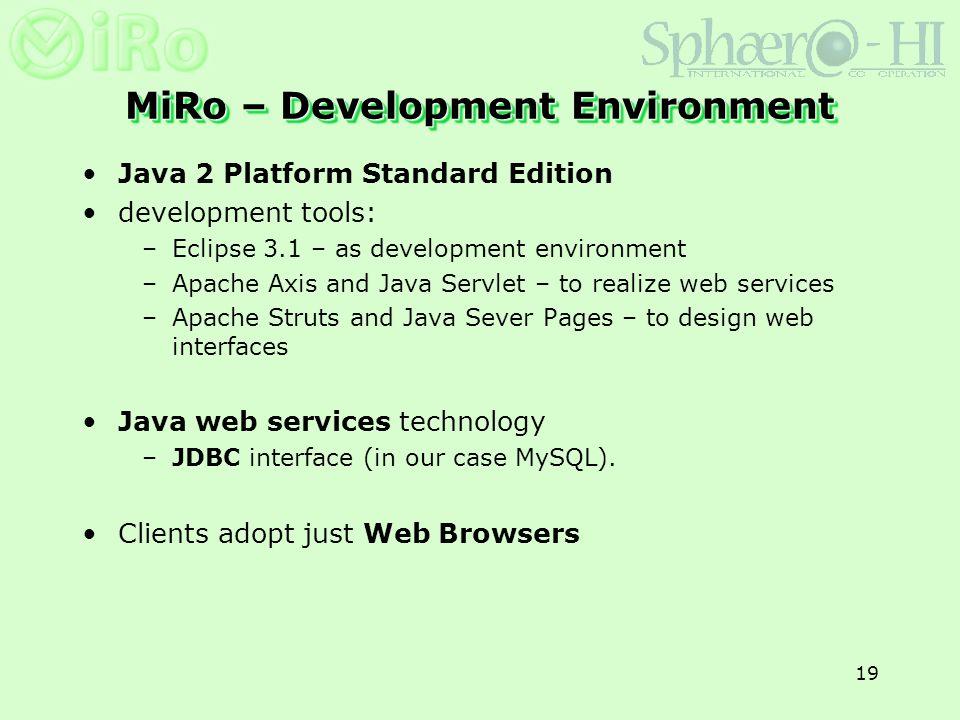 19 MiRo – Development Environment Java 2 Platform Standard Edition development tools: –Eclipse 3.1 – as development environment –Apache Axis and Java
