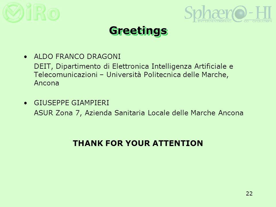 22 GreetingsGreetings ALDO FRANCO DRAGONI DEIT, Dipartimento di Elettronica Intelligenza Artificiale e Telecomunicazioni – Università Politecnica dell