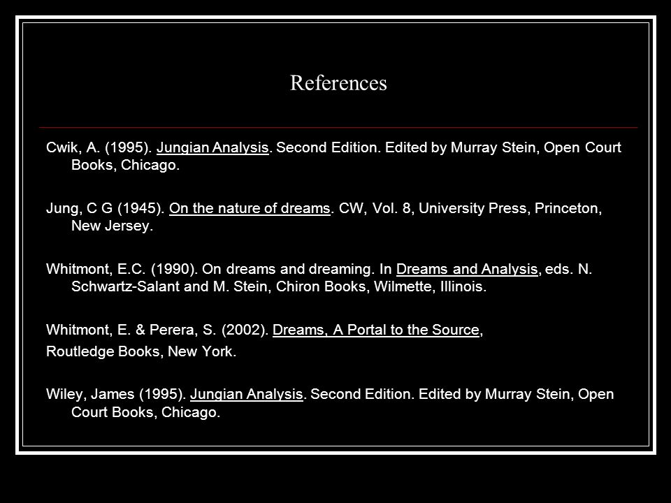 References Cwik, A.(1995). Jungian Analysis. Second Edition.