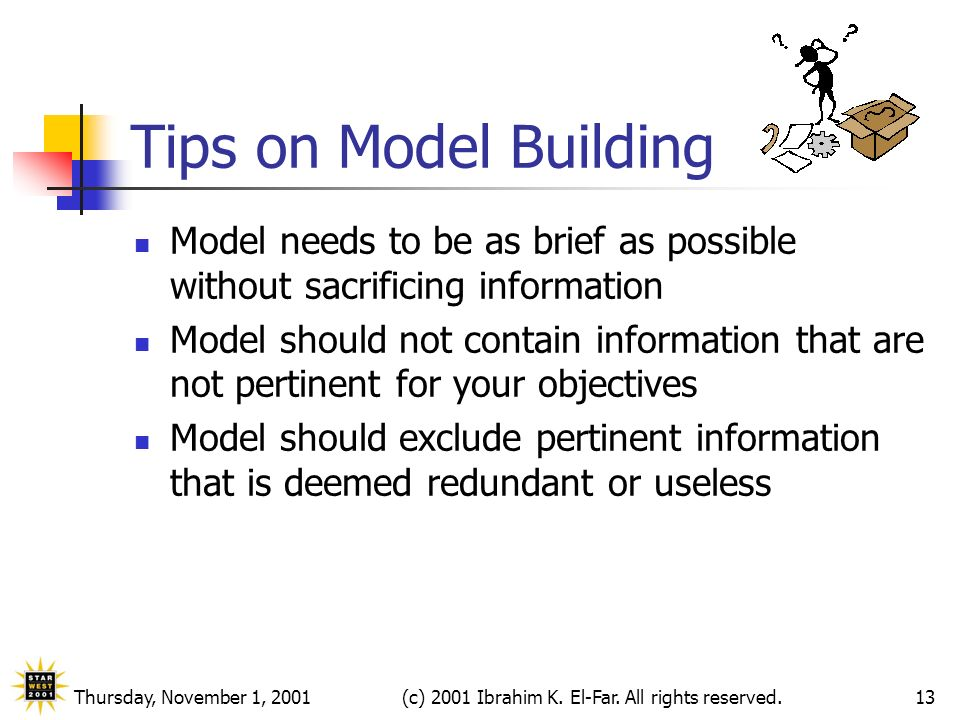 Thursday, November 1, 2001(c) 2001 Ibrahim K. El-Far. All rights reserved.13 Tips on Model Building Model needs to be as brief as possible without sac