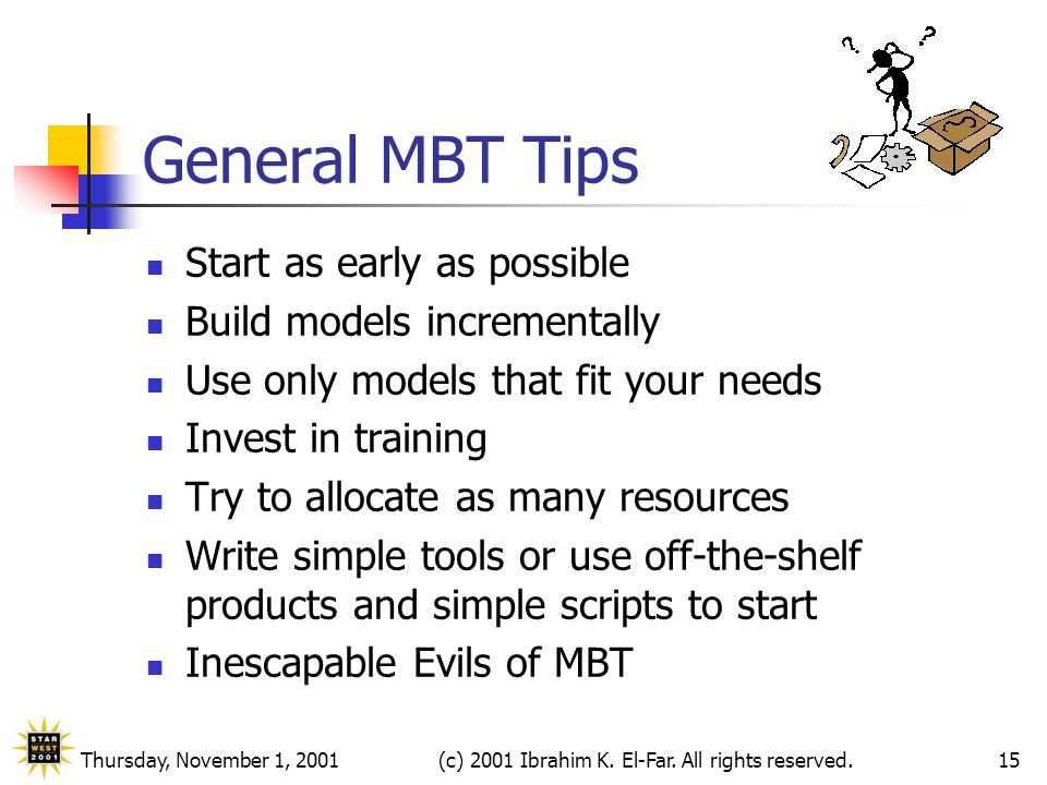 Thursday, November 1, 2001(c) 2001 Ibrahim K. El-Far. All rights reserved.15 General MBT Tips Start as early as possible Build models incrementally Us