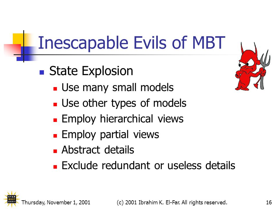 Thursday, November 1, 2001(c) 2001 Ibrahim K. El-Far. All rights reserved.16 Inescapable Evils of MBT State Explosion Use many small models Use other