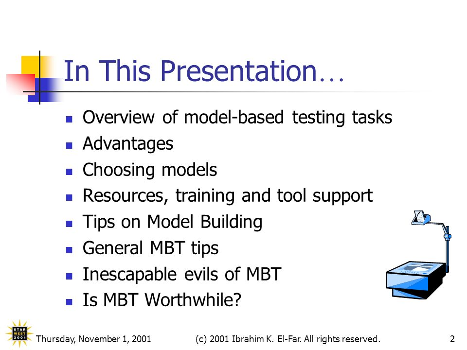 Thursday, November 1, 2001(c) 2001 Ibrahim K. El-Far. All rights reserved.2 In This Presentation … Overview of model-based testing tasks Advantages Ch