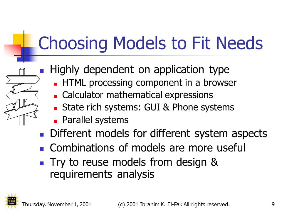 Thursday, November 1, 2001(c) 2001 Ibrahim K. El-Far. All rights reserved.9 Choosing Models to Fit Needs Highly dependent on application type HTML pro