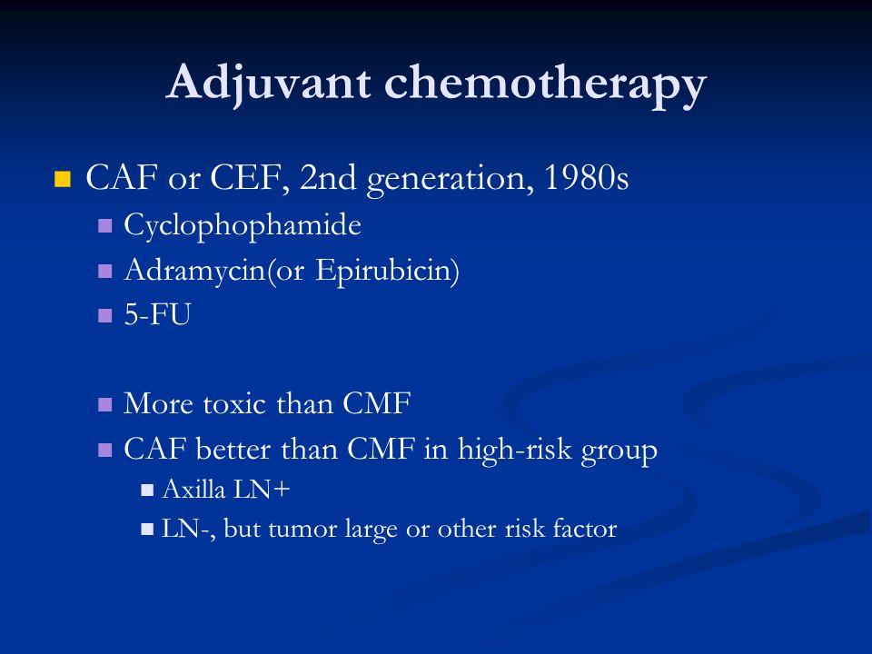 Adjuvant chemotherapy CAF or CEF, 2nd generation, 1980s Cyclophophamide Adramycin(or Epirubicin) 5-FU More toxic than CMF CAF better than CMF in high-