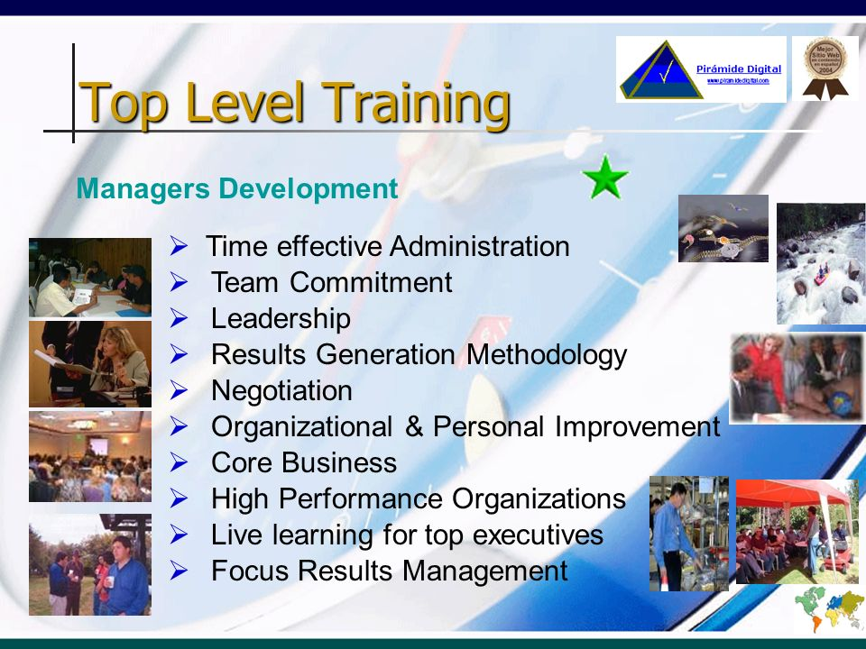 Team Commitment Leadership Results Generation Methodology Negotiation Organizational & Personal Improvement Core Business High Performance Organizatio