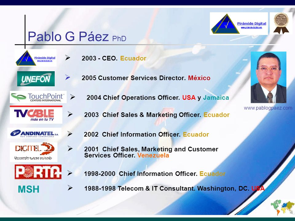 2005 Customer Services Director. México 1988-1998 Telecom & IT Consultant. Washington, DC. USA 2004 Chief Operations Officer. USA y Jamaica 2003 - CEO