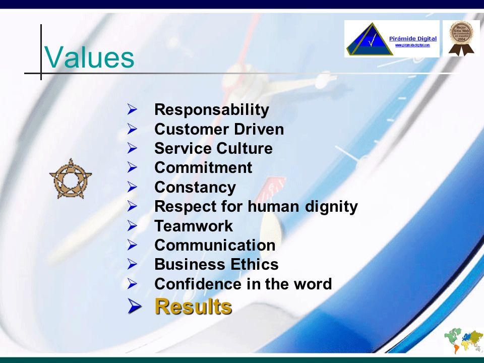 Values Responsability Customer Driven Service Culture Commitment Constancy Respect for human dignity Teamwork Communication Business Ethics Confidence