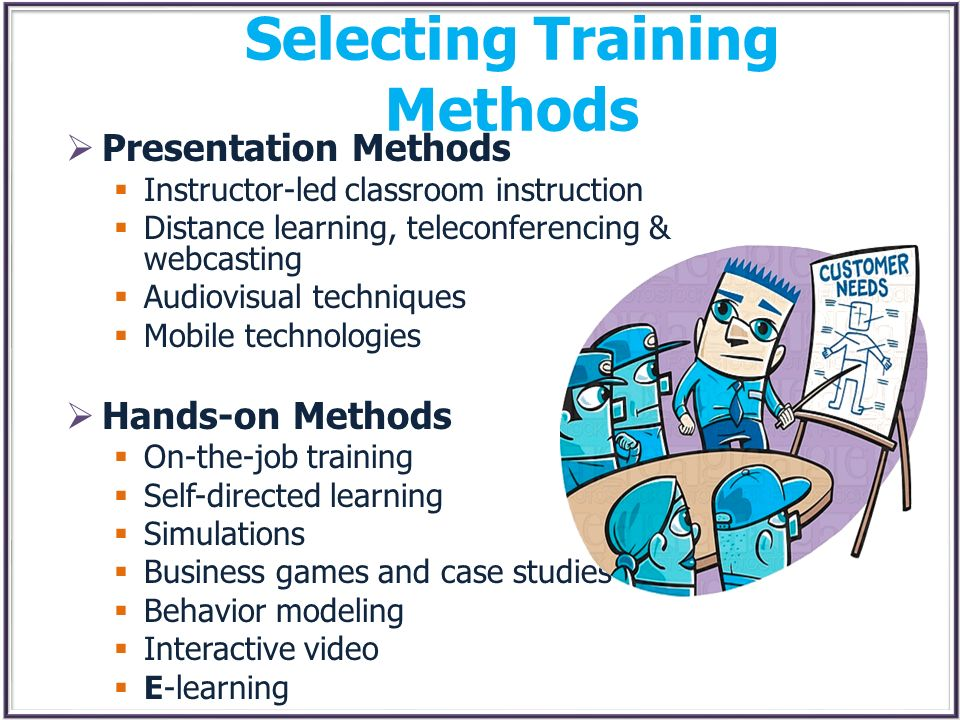 Selecting Training Methods Presentation Methods Instructor-led classroom instruction Distance learning, teleconferencing & webcasting Audiovisual tech