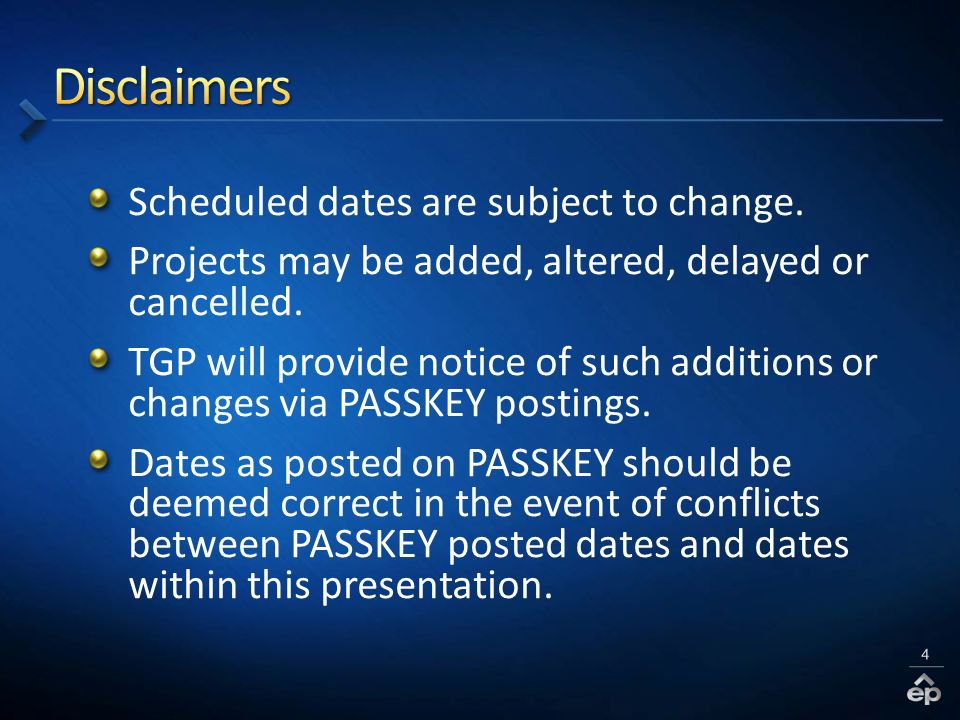 Scheduled dates are subject to change. Projects may be added, altered, delayed or cancelled.