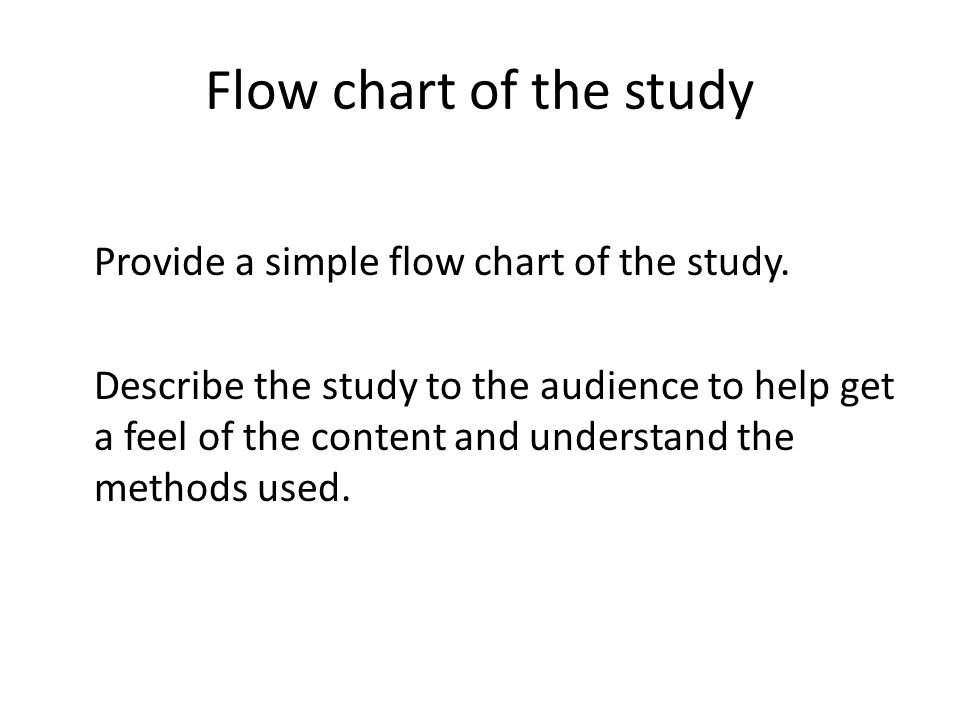 Flow chart of the study Provide a simple flow chart of the study. Describe the study to the audience to help get a feel of the content and understand