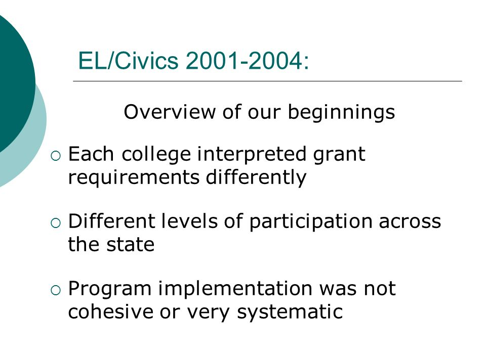 EL/Civics 2001-2004: Overview of our beginnings Each college interpreted grant requirements differently Different levels of participation across the s