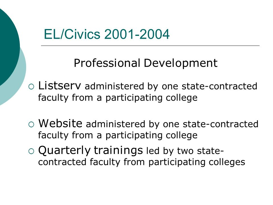 EL/Civics 2001-2004 Professional Development Listserv administered by one state-contracted faculty from a participating college Website administered b