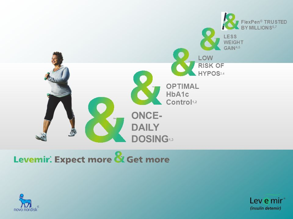 ONCE- DAILY DOSING 1,3 OPTIMAL HbA1c Control 1,2 LOW RISK OF HYPOS 3,4 LESS WEIGHT GAIN 4,5 FlexPen ® TRUSTED BY MILLIONS 6,7