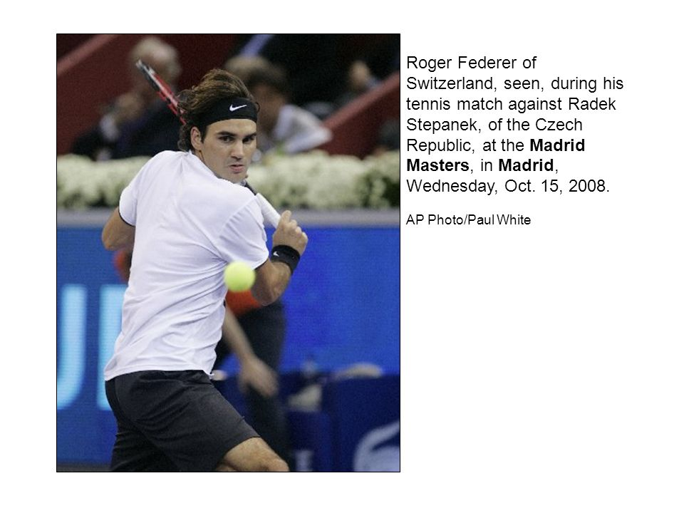 Roger Federer of Switzerland reacts after beating Radek Stepanek of the Czech Republic 6-3, 7-6, during a tennis match at the Madrid Masters in Madrid, Wednesday, Oct.