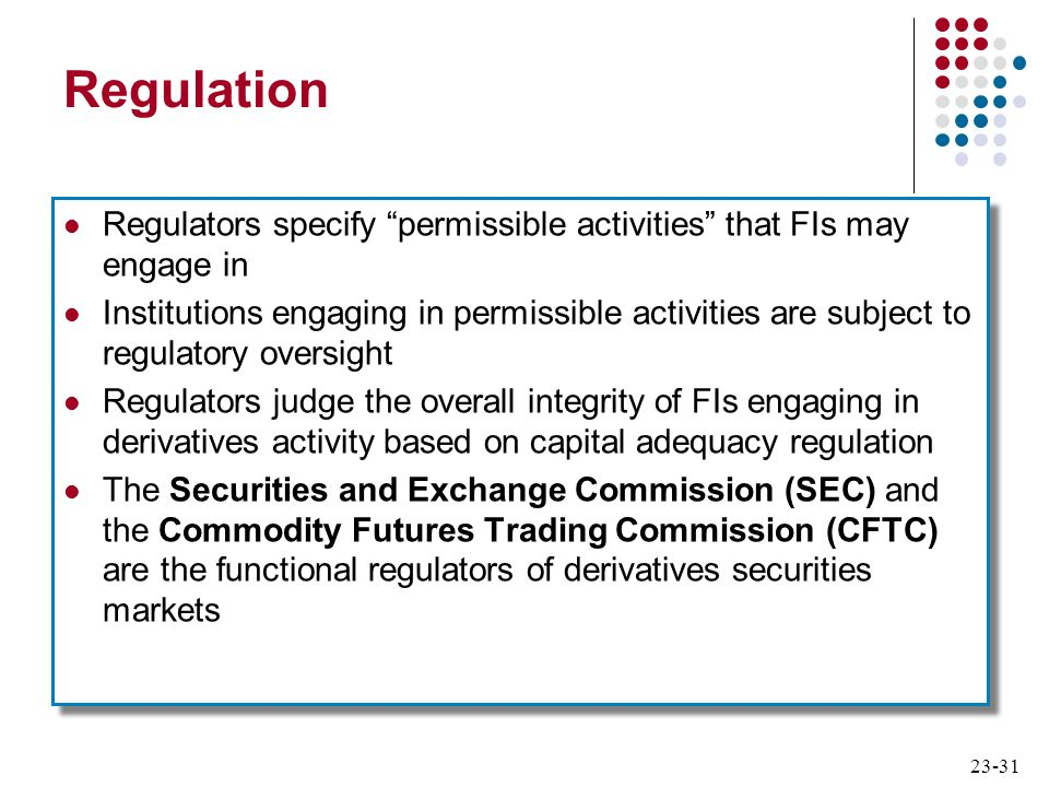 23-31 Regulation Regulators specify permissible activities that FIs may engage in Institutions engaging in permissible activities are subject to regul