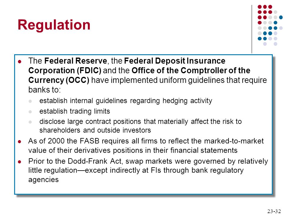 23-32 Regulation The Federal Reserve, the Federal Deposit Insurance Corporation (FDIC) and the Office of the Comptroller of the Currency (OCC) have im