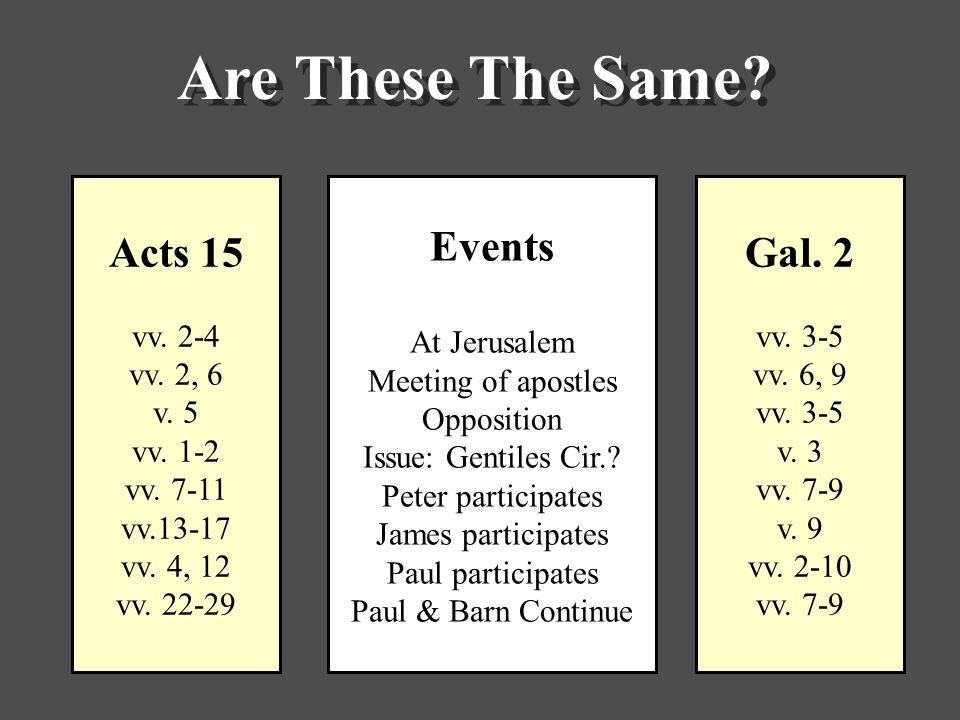 Acts 15 vv. 2-4 vv. 2, 6 v. 5 vv. 1-2 vv. 7-11 vv.13-17 vv.