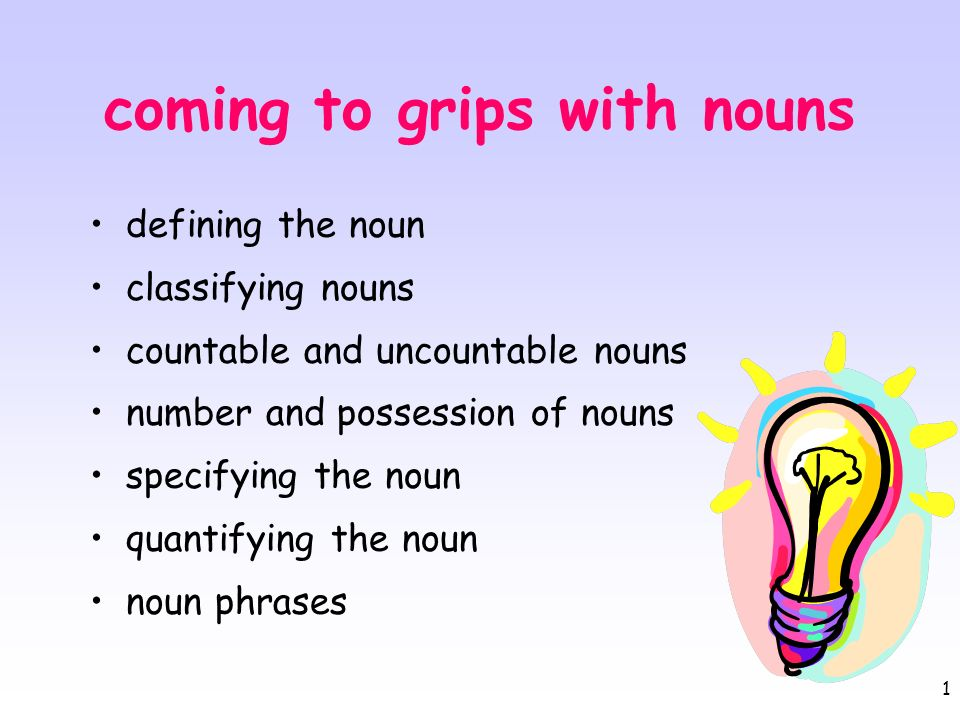 1 coming to grips with nouns defining the noun classifying nouns countable and uncountable nouns number and possession of nouns specifying the noun qu