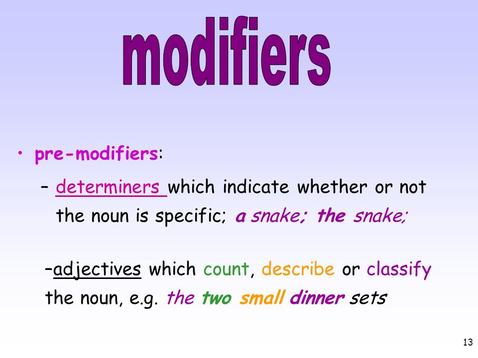 13 pre-modifiers: –determiners which indicate whether or not the noun is specific; a snake; the snake;determiners –adjectives which count, describe or