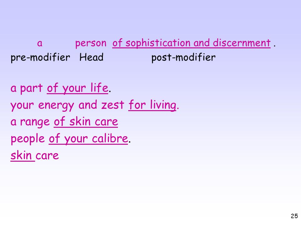 25 a person of sophistication and discernment. pre-modifier Head post-modifier a part of your life. your energy and zest for living. a range of skin c