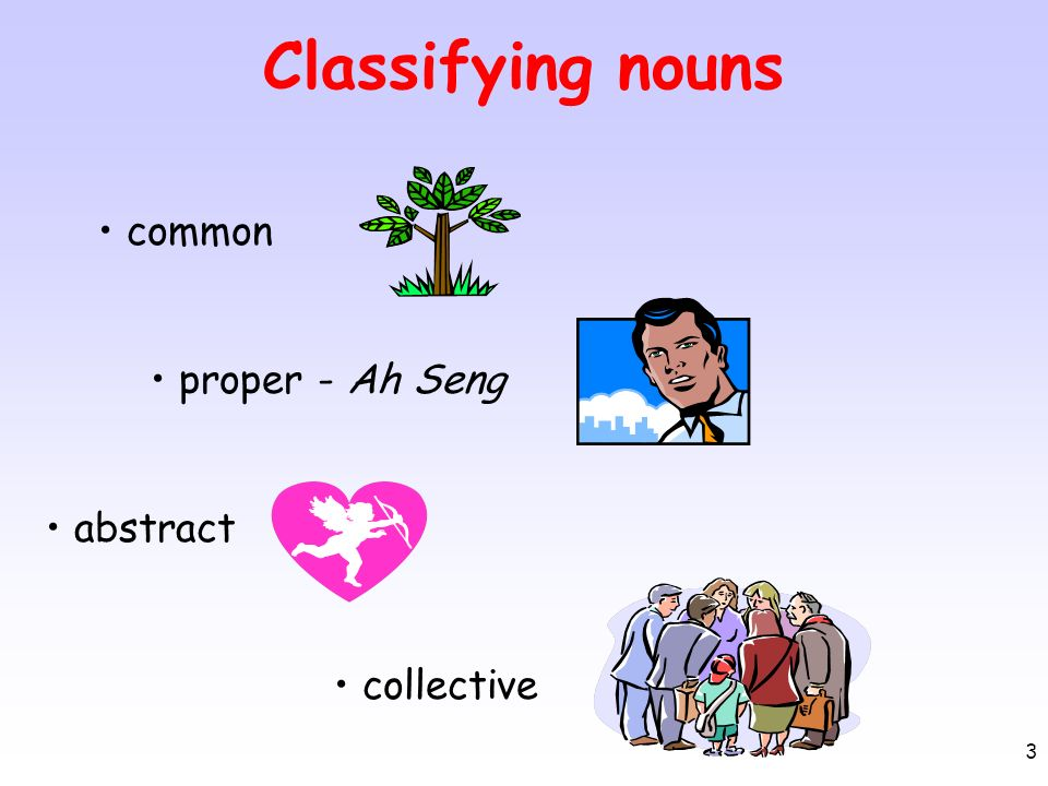 3 Classifying nouns common proper - Ah Seng abstract collective