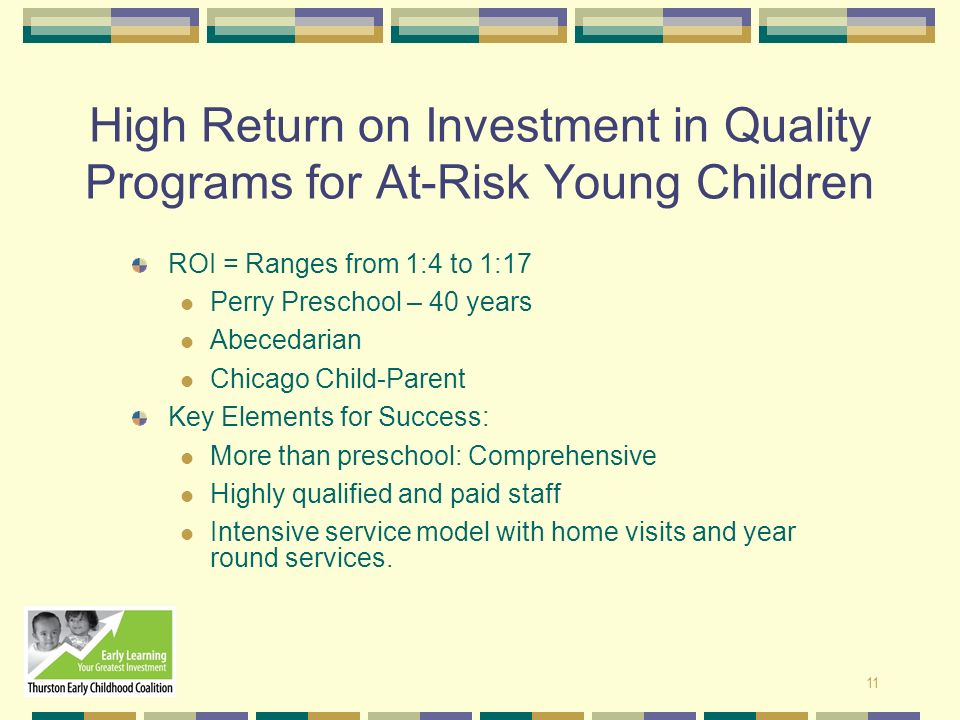 11 High Return on Investment in Quality Programs for At-Risk Young Children ROI = Ranges from 1:4 to 1:17 Perry Preschool – 40 years Abecedarian Chica