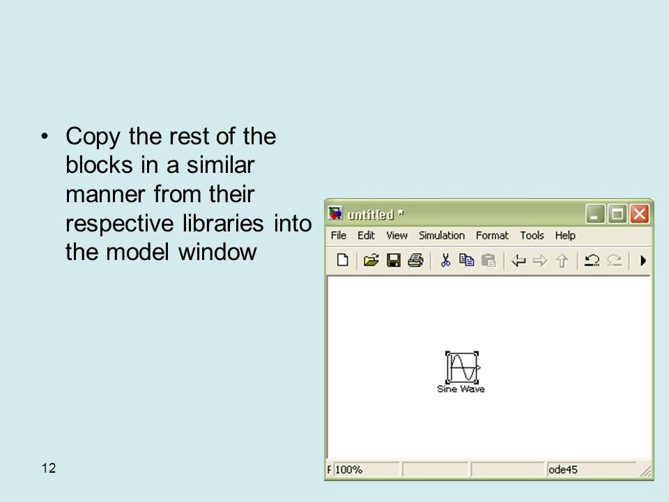 12 Copy the rest of the blocks in a similar manner from their respective libraries into the model window