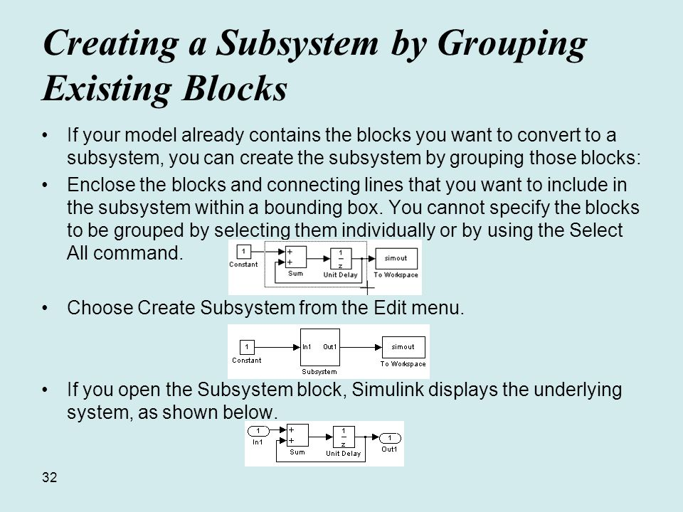 32 Creating a Subsystem by Grouping Existing Blocks If your model already contains the blocks you want to convert to a subsystem, you can create the subsystem by grouping those blocks: Enclose the blocks and connecting lines that you want to include in the subsystem within a bounding box.