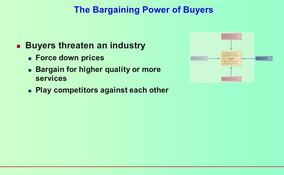 The Threat of New Entrants Profits of established firms in the industry may be eroded by new competitors High entry barriers lead to low threat of new entries Economies of scale Product differentiation Capital requirements Switching costs Access to distribution channels