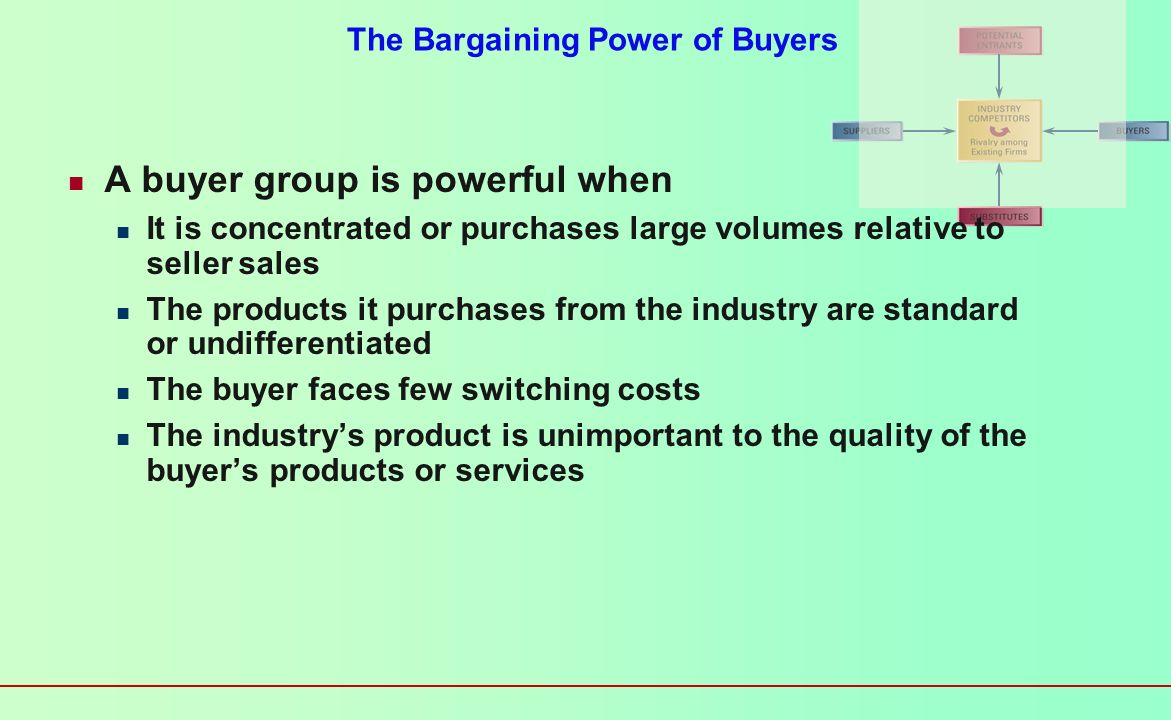 The Bargaining Power of Buyers Buyers threaten an industry Force down prices Bargain for higher quality or more services Play competitors against each
