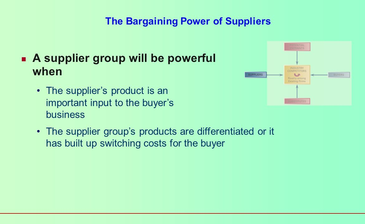 The Bargaining Power of Suppliers A supplier group will be powerful when The supplier group is dominated by a few companies The supplier group is not