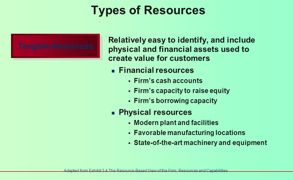Resource-Based View of the Firm Two perspectives The internal analysis of phenomena within a company An external analysis of the industry and its competitive environment Three key types of resources Tangible resources Intangible resources Organizational capabilities