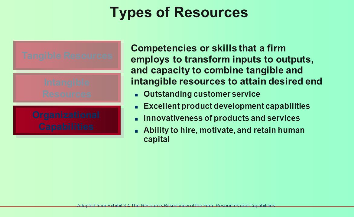 Types of Resources Innovation and creativity Technical and scientific skills Innovation capacities Reputation Effective strategic planning processes E