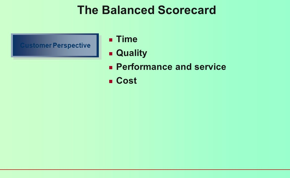The Balanced Scorecard Provides a meaningful integration of many issues that come into evaluating a firms performance Four key perspectives How do customers see us.