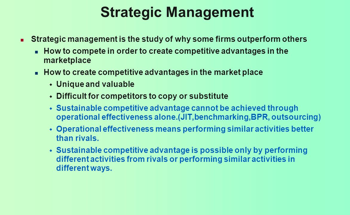 Strategic Management Analysis Strategic goals (vision, mission, strategic objectives) Internal and external environment of the firm Strategic decisions What industries should we compete in.