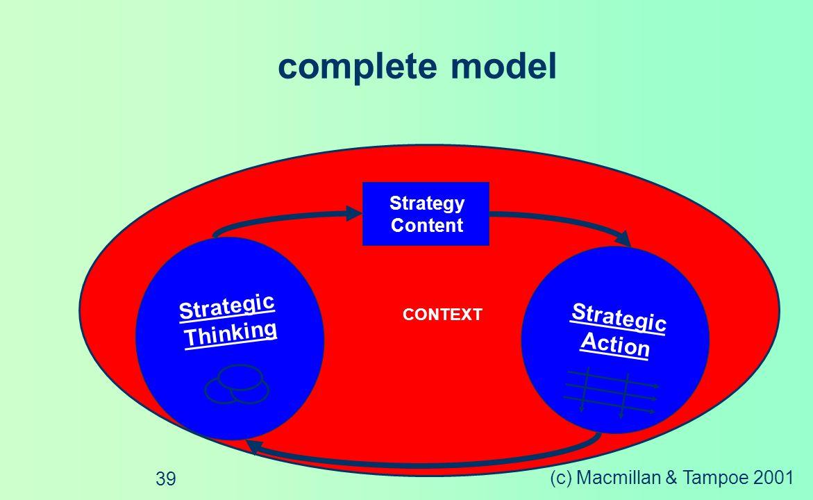 (c) Macmillan & Tampoe 2001 38 Programme & Project Management Change Leadership Culture Change Process Change Structure Change Transformed Enterprise The Strategy Implementation Process