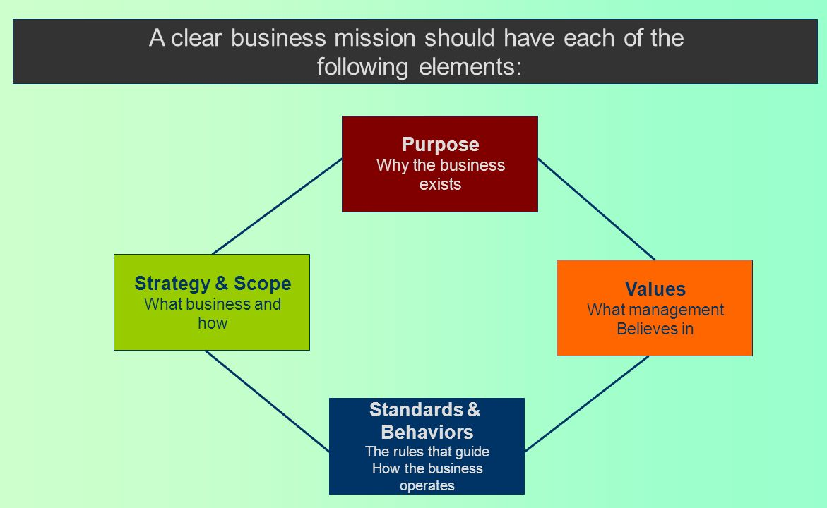 Hierarchy of Goals Company vision Coherence in Strategic Direction Mission statements Purpose of the company Basis of competition and competitive adva
