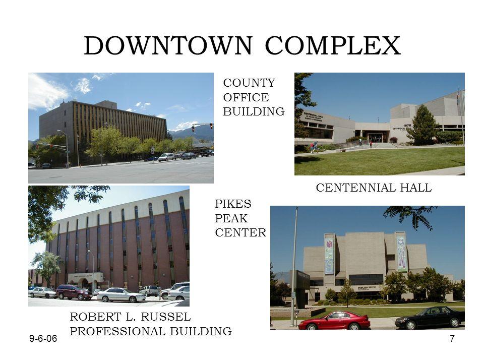 9-6-068 TYPES OF FACILITES EL PASO COUNTY FAIRGROUNDS, 18 BUILDINGS HEALTH DEPARTMENT, 2 BUILDINGS DEPARTMENT OF HUMAN SERVICES, 4 BUILDINGS DEPARTMENT OF TRANSPORTATION, 11 BUILDINGS CRIMINAL JUSTICE CENTER, 6 BUILDINGS