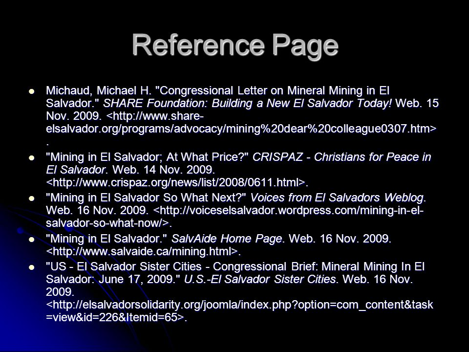 Reference Page Michaud, Michael H.