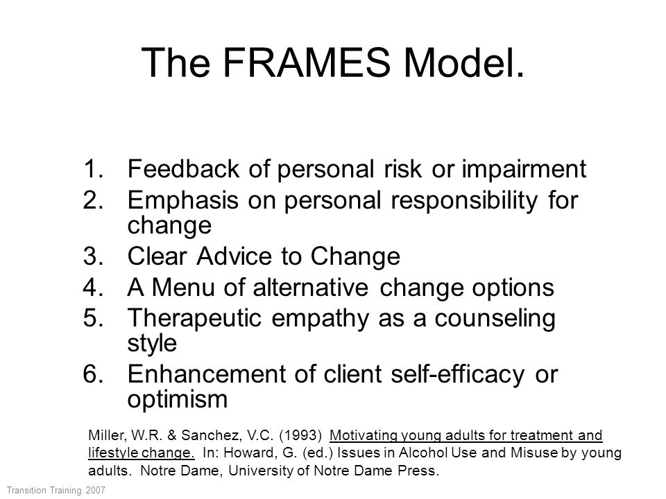 The FRAMES Model. 1.Feedback of personal risk or impairment 2.Emphasis on personal responsibility for change 3.Clear Advice to Change 4.A Menu of alte