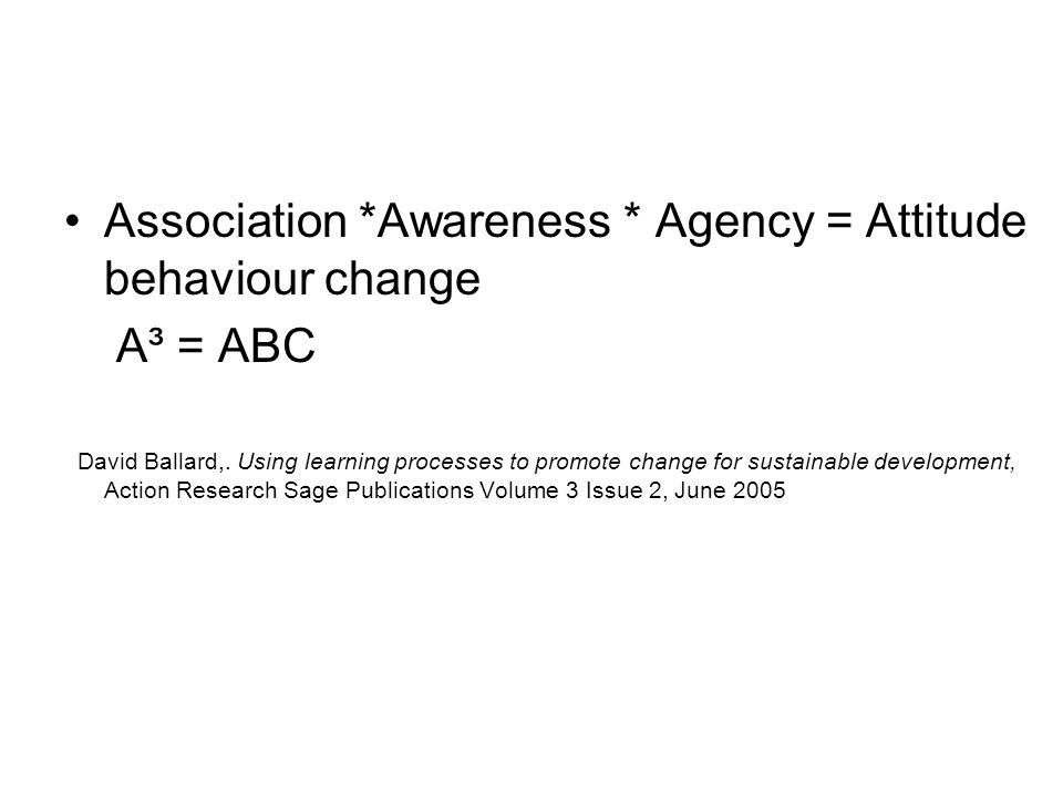 Association *Awareness * Agency = Attitude behaviour change A³ = ABC David Ballard,. Using learning processes to promote change for sustainable develo